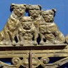 Victorian Brass Towel Rack with Bulldogs